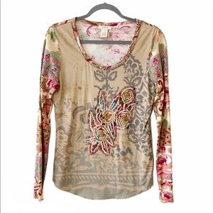 Sundance Floral Embroidered Long Sleeve T-shirt S